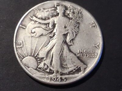 1945 US Liberty Walking half dollar coin.