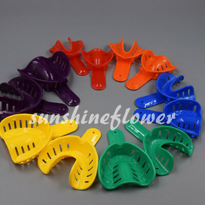 New 6 Pairs/12 Pcs Dental Impression Trays Plastic Autoclavable Colorful Sale