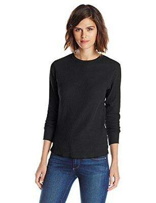 Hanes Women's X-Temp Thermal Underwear Crew Shirt, Black, Medium