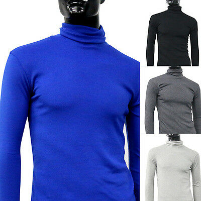 IT- Men's Fashion Roll Turtle Neck Pullover Long Sleeve Slim Fit Sweater Tops Ey