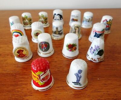 Lot Of 18 X Porcelain Thimbles Royal Albert Souvenir Birchcroft Collectable