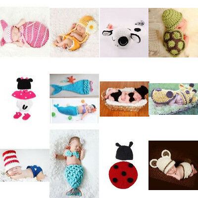 Crochet Knitting Baby Outfit Costume Set Photography Photo Prop Mermaid Newborn