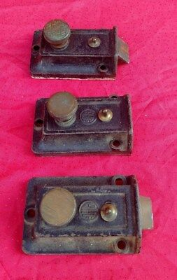3 Pc Lot Antique Vintage Cast Iron Door Dead Bolt RHC Brass Hardware  ✞