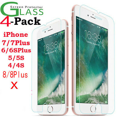 4x Scratch Resist Tempered Glass Screen Protector for Apple iPhone 8 7 6s 6 Plus