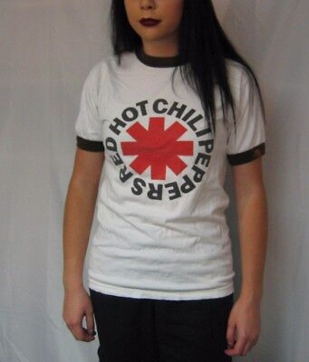 RED HOT CHILI PEPPERS Logo early 1990s VINTAGE ringer Small (M) T-Shirt AAA