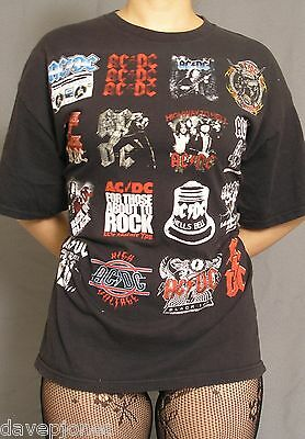 AC/DC Black T- Shirt with 16 Logos / Album Artwork XL UNIQUE official from 2010