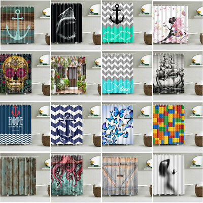 180CM Fabric Waterproof Bathroom Shower Curtain Divider Panel With 12 Hooks Set