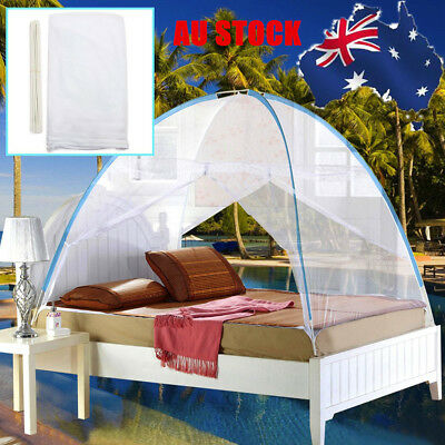 AU 2Color Bed Canopy Mosquito Net Tent W/ Bracket For Single Queen King Bed Size