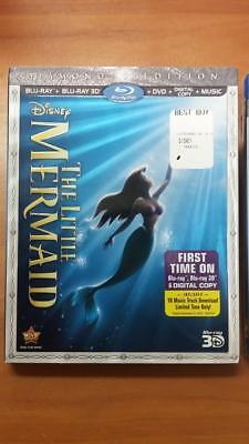 Disney's The Little Mermaid (Blu-ray 2D/3D/DVD/Digital) Brand New Sealed+Sleeve!