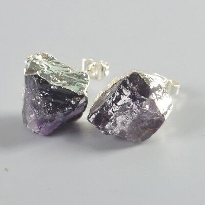 Freeform Rough Natural Amethyst Stud Earrings Silver Plated H102139