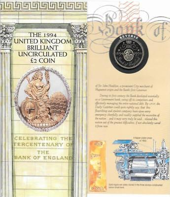1994 Bank of England 300th Anniversary £2 Two Pounds Coin Uncirculated in Folder