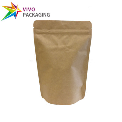 Kraft Paper Stand Up Doy Pouch, Zip Lock Food Foil Bags, Various Sizes (100 pcs)