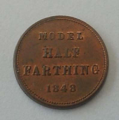 1848 Victoria Half Farthing Model Coin in Very Good Condition