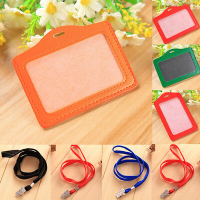 20 Colors ID Window Leather Card Holder Case Badge Necklace Lanyard Neck Strap
