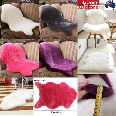 Soft Faux Sheepskin Chair Cover Warm Hairy Carpet Seat Pad Fluffy Rugs Floor Mat