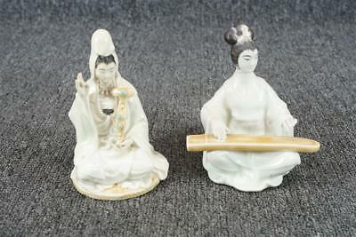 """Vintage Lot Of 2 Porcelain Chinese Man & Woman Figurines 5 1/8"""""""