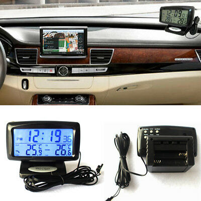 2 in 1 Car Kit Electronic Digital Clock Thermometer in/out Temperature Measuring