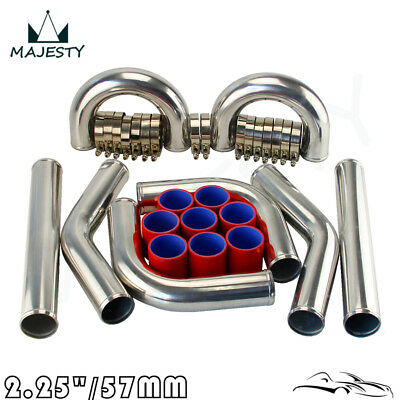 """Universal Turbo Boost Intercooler Pipe Kit 2.25"""" 57Mm  8 Piece  Alloy Piping Rd"""