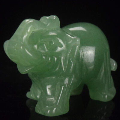 "1.5"" Green Aventurine Detailed Carve Elephant Figurine Animal Decor Statue"