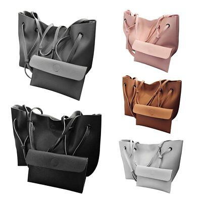 2PCS/SET Trendy Design Women Solid Color PU leather Shoulder Bag Tote Bag GT
