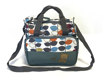 Small Handy Laminated Grey Leaves Baby Nappy Changing Bag Diaper Bag Waterproof