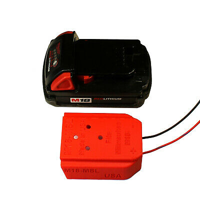 Milwaukee M18 Battery mount, wired 16AWG, power lights, e-bike, tools # M18-MSL