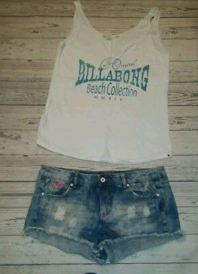 ✔✔✔BILLABONG Lyla & Co jeans 10-12 blue distressed stone washed denim top outfit