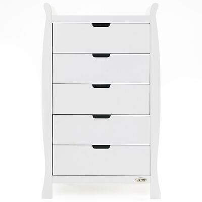 Obaby Stamford Tall Baby / Child Bedroom Chest of Drawers | 5 Drawers | White