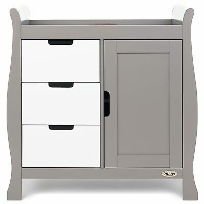 Obaby Stamford Baby Changing Dresser Furniture Unit | Taupe Grey With White