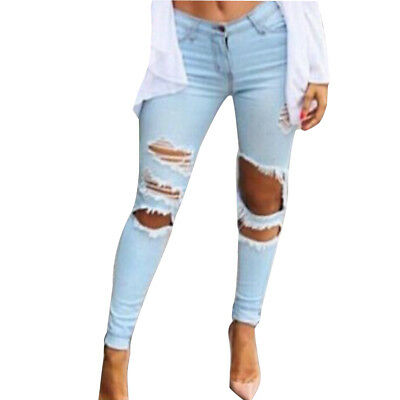 Ripped Womens Denim Jeans Skinny Pants High Waist Stretch Long Pencil Trousers