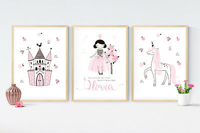 3 Fairy Tale Princess Unicorn Prints Personalised Pictures Nursery Wall Art