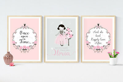 3 Fairy Tale Princess Prints Personalised Pictures Christening Nursery Wall Art