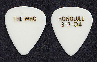 The Who Pete Townshend Honolulu 8-3-04 White Guitar Pick - 2004 Tour