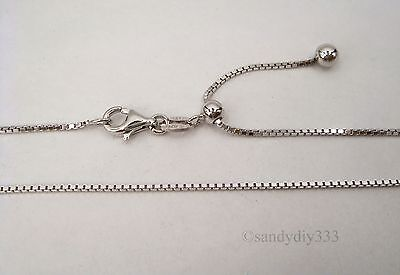 "24"" RHODIUM plated STERLING SILVER 1mm BOX CHAIN NECKLACE ADJUSTABLE SLIDE #9137"