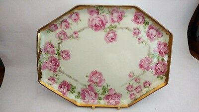 "RS Prussia 11"" Tray / Platter With Large Bright Pink Roses and Heavy Gold Trim"