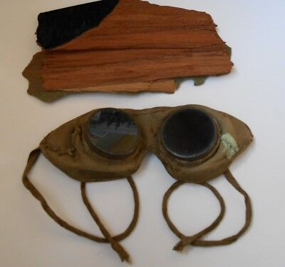 RFC    royal flying corps goggles and small splinter of prop