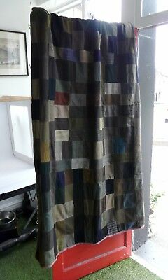 Antique patchwork quilt/ throw. Trade-mans suit fabric samples, pure wool. Rare.