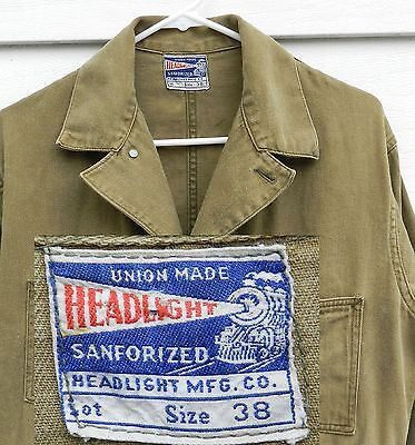 Vintage HEADLIGHT Overalls SANFORIZED 1930's UNION MADE 38x30 Railroad workwear