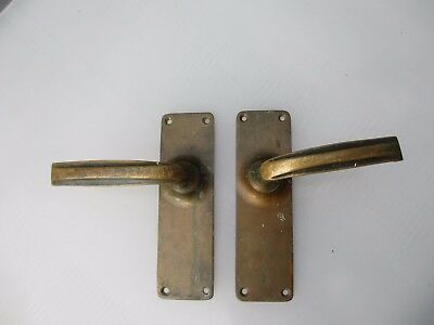 Vintage Bronze Lever Door Handles Architectural Antique Scroll Edwardian Old