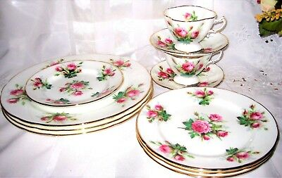 Hammersley - Grandmother's Rose - Dinner, Side Plates and Teacup Sets (11pcs)