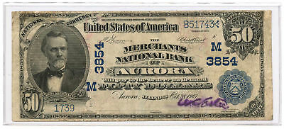 1902 $50 Banknote Date Back The Merchants National Bank of Aurora, IL #3854