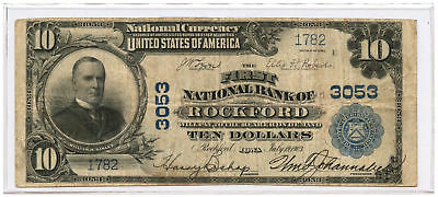 1902 $10 National Banknote Plain Back The First NB of Rockford Ch #3053