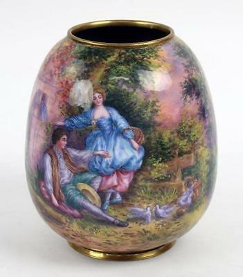 Superb Large French Enamel Vase.