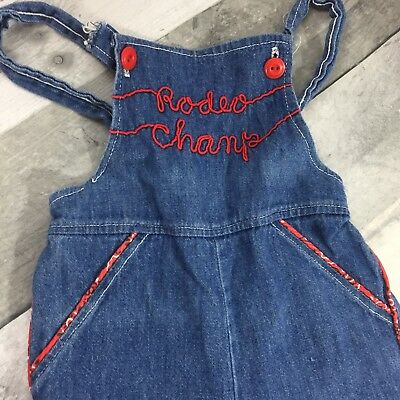 VTG Childs Denim Overalls Rodeo Champ Piped Bandanna Coveralls One Piece Unisex