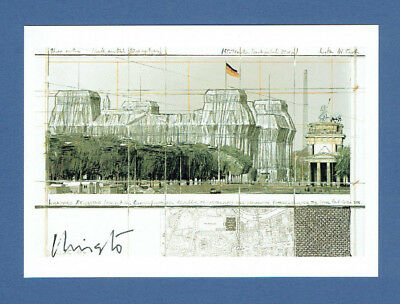 "CHRISTO Autogramm Autograph signed Card ""Wrapped Reichstag"" KPK"