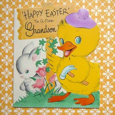 Vintage 1940 Yellow Duck with Bunny Rabbit Greeting Card