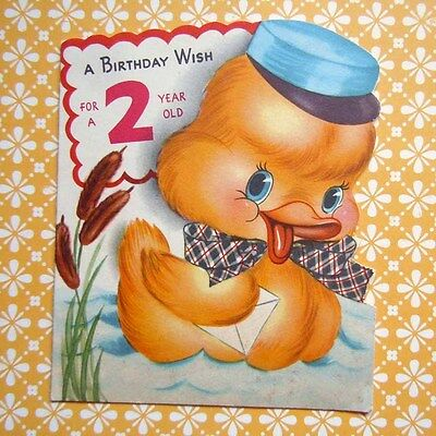 Vintage 1950 Die Cut Yellow Duck with Blue Hat Greeting Card