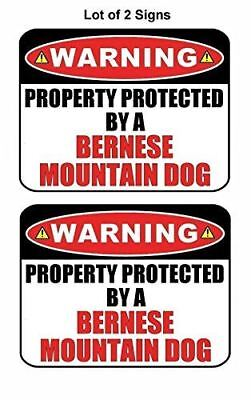 2 Count Warning Property Protected by an Bernese Mountain Dog Laminated Dog Sign