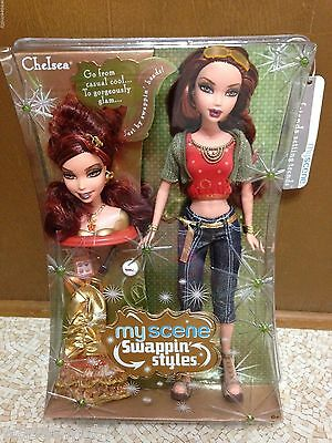 Barbie My Scene Chelsea Swappin Style Doll Curly Auburn Red Hair Glam Head Rare