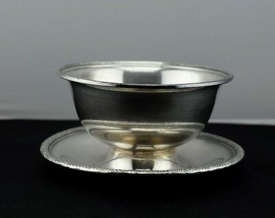 International Prelude Plain Sterling Silver Gravy Bowl w/ Attached Underplate